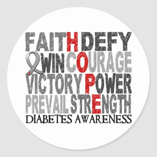 Hope Word Collage Diabetes Stickers