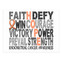 Hope Word Collage Endometrial Cancer Postcard