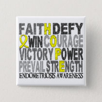 Hope Word Collage Endometriosis Pinback Button