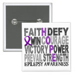 Hope Word Collage Epilepsy 2 Inch Square Button