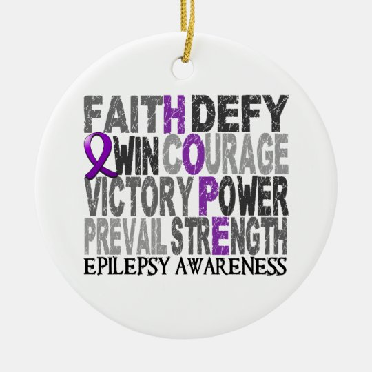 Hope Word Collage Epilepsy Ceramic Ornament