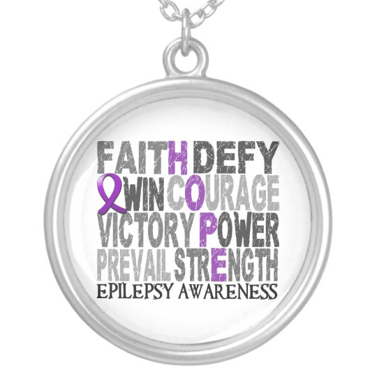 Hope Word Collage Epilepsy Silver Plated Necklace