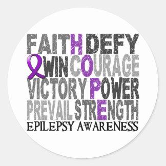 Hope Word Collage Epilepsy Classic Round Sticker