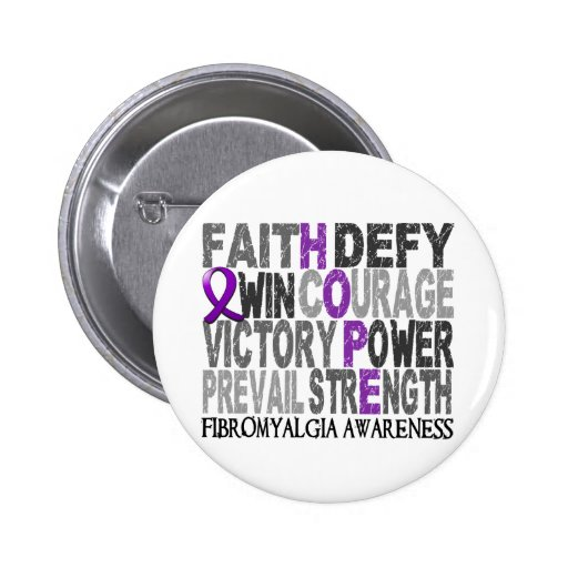 Hope Word Collage Fibromyalgia Pinback Buttons