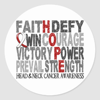Hope Word Collage Head Neck Cancer Classic Round Sticker