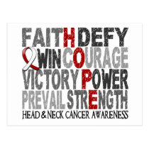 Hope Word Collage Head Neck Cancer Postcard