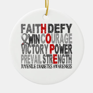 Hope Word Collage Juvenile Diabetes Double-Sided Ceramic Round Christmas Ornament