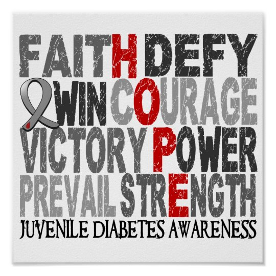 Hope Word Collage Juvenile Diabetes Poster