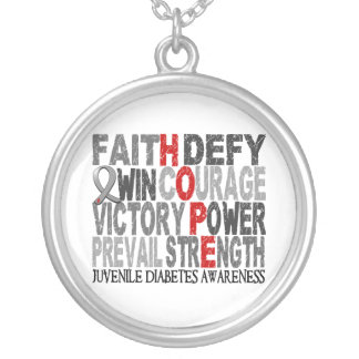 Hope Word Collage Juvenile Diabetes Silver Plated Necklace