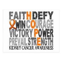 Hope Word Collage Kidney Cancer Postcard