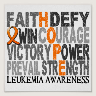 Hope Word Collage Leukemia Poster