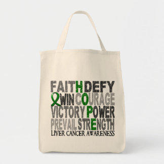 Hope Word Collage Liver Cancer Tote Bag