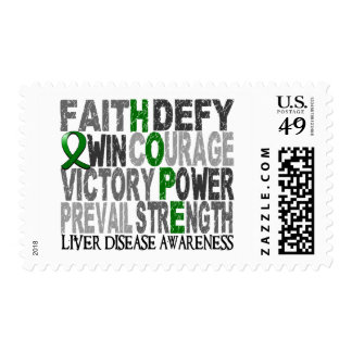 Hope Word Collage Liver Disease Postage Stamps
