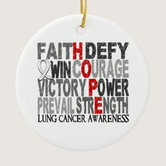 Hope Word Collage Lung Cancer Ceramic Ornament