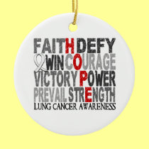 Hope Word Collage Lung Cancer Double-Sided Ceramic Round Christmas Ornament