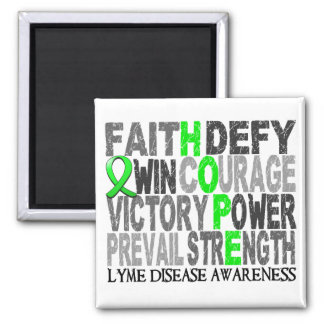 Hope Word Collage Lyme Disease 2 Inch Square Magnet