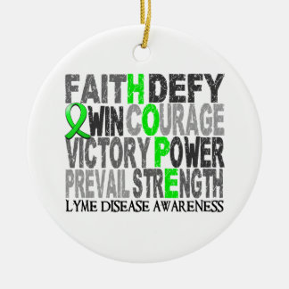 Hope Word Collage Lyme Disease Ornaments