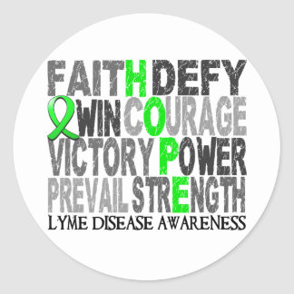 Hope Word Collage Lyme Disease Classic Round Sticker