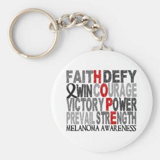 Hope Word Collage Melanoma Basic Round Button Keychain