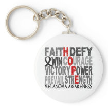 Hope Word Collage Melanoma Keychain
