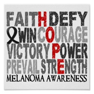 Hope Word Collage Melanoma Poster