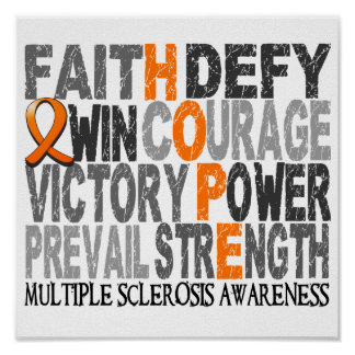 Hope Word Collage Multiple Sclerosis Poster