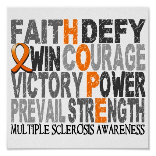 Hope Word Collage Multiple Sclerosis Print
