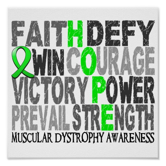Hope Word Collage Muscular Dystrophy Poster