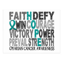 Hope Word Collage Ovarian Cancer Postcard
