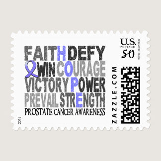 Hope Word Collage Prostate Cancer Postage