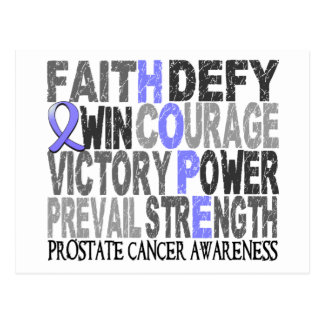 Hope Word Collage Prostate Cancer Postcard
