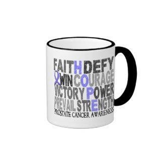 Hope Word Collage Prostate Cancer Ringer Mug