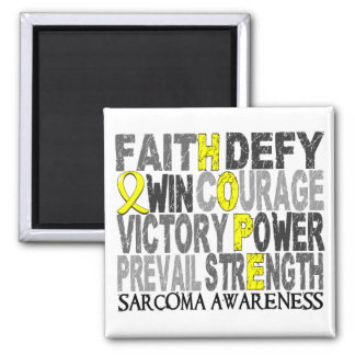 Hope Word Collage Sarcoma 2 Inch Square Magnet