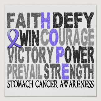 Hope Word Collage Stomach Cancer Poster