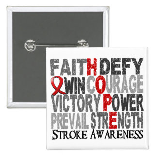 Hope Word Collage Stroke 2 Inch Square Button