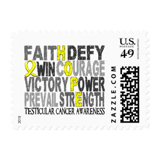 Hope Word Collage Testicular Cancer Stamps