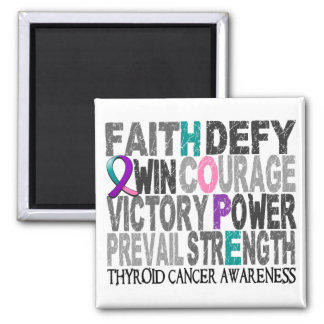 Hope Word Collage Thyroid Cancer 2 Inch Square Magnet