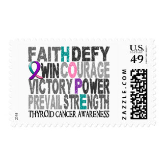 Hope Word Collage Thyroid Cancer Stamps