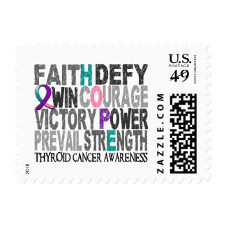 Hope Word Collage Thyroid Cancer Stamp