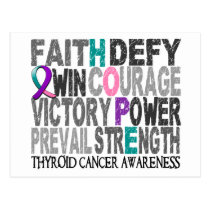 Hope Word Collage Thyroid Cancer Postcard