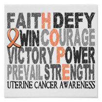 Hope Word Collage Uterine Cancer Poster