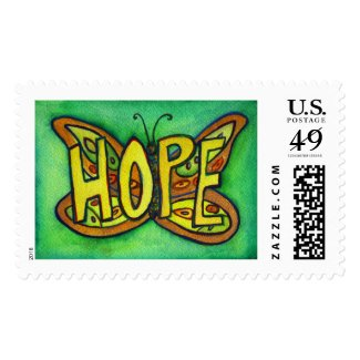 Hope Word Green Butterfly Art Custom Postage Stamp
