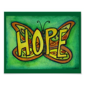 Hope Word Green Butterfly Art Print Posters