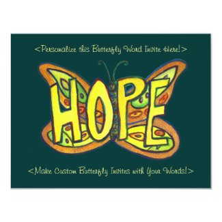 Hope Word Green Butterfly Custom Art Invitations