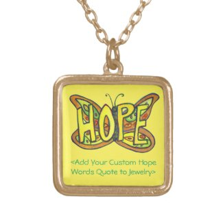 Hope Word Green Butterfly Necklace Art Jewelry