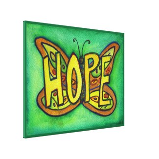 Hope Word Green Butterfly Painting Canvas Artwork