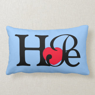 Hope Word Red Heart Throw Pillows