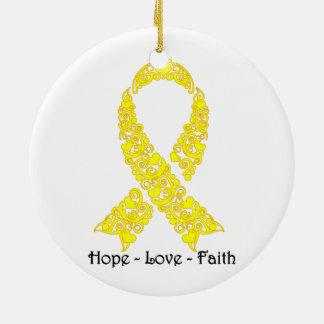 Hope Yellow Awareness Ribbon Ceramic Ornament