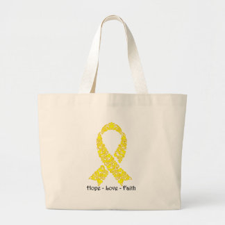 Hope Yellow Awareness Ribbon Large Tote Bag