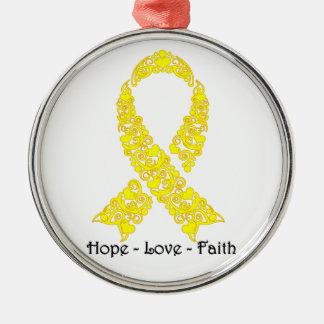 Hope Yellow Awareness Ribbon Metal Ornament